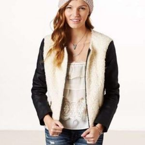 American Eagle Outfitters Faux Leather Fur Jacket